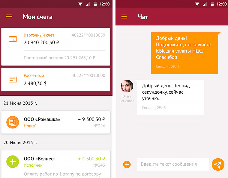 Интерфейс мобильного банка «МДМ Бизнес»