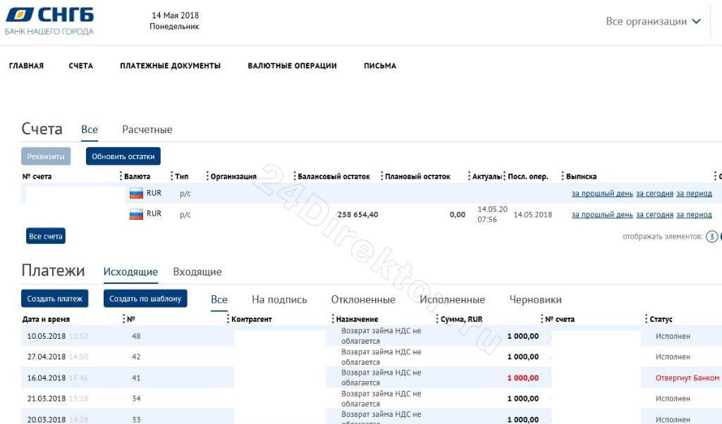 Интернет-банк «СНГБ Онлайн бизнес» (общий вид интерфейса)