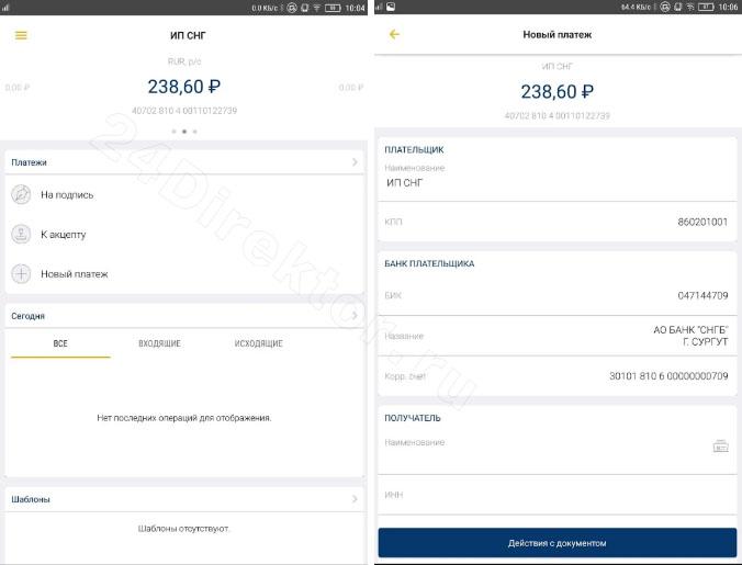Мобильный банк для бизнес (общий вид интерфейса)