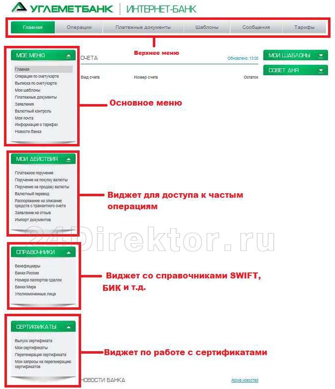 Интернет-банк Углеметбанка для юр лиц (общий вид интерфейса)