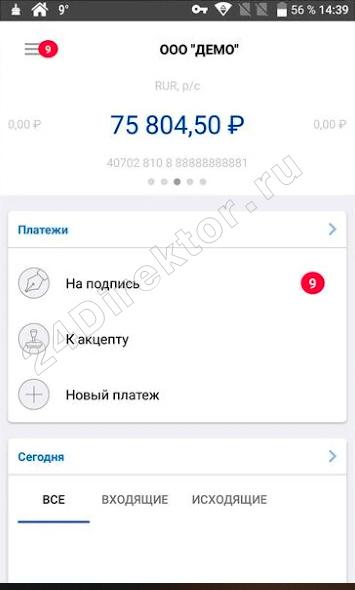 ВУЗ-банк - мобильный банк «Light» для бизнеса (общий вид интерфейса)