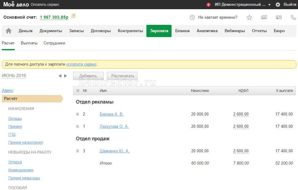 Интернет-бухгалтерия «Моё дело» - вид раздела «зарплата»