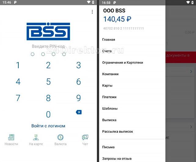 Мобильный банк для бизнеса (общий вид интерфейса)