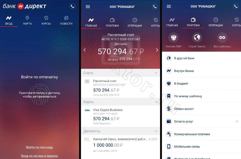 Мобильный банк «Нейва.Бизнес» (общий вид интерфейса)