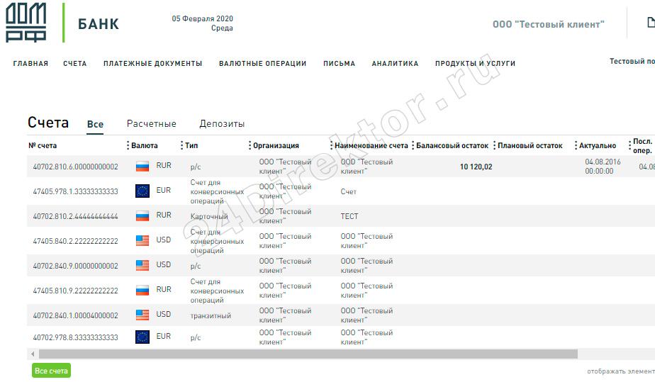 Интернет-банк «РК Бизнес Онлайн» (общий вид интерфейса)